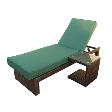 Outdoor Rattan Chaise Lounge With Side Table